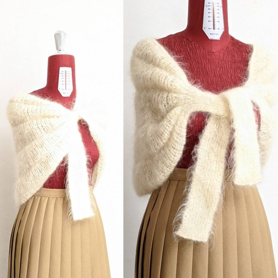 one size • ivory mohair cape • fuzzy wool cape wit