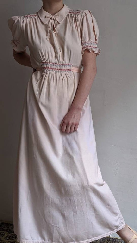 antique dusty pink pioneer cotton dress - image 8