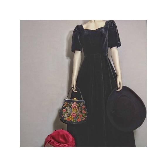 used laura ashley black velvet dress vintage|women