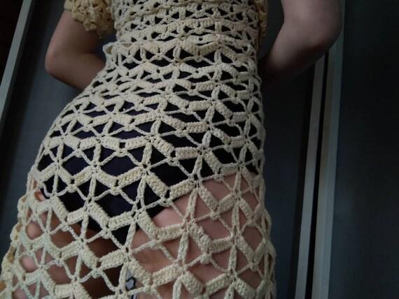 60s open crochet knit dress bohemian vintage used 