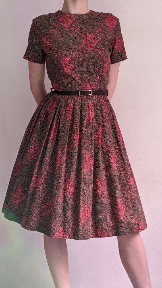 vintage 40s fit and flare day dress - image 2