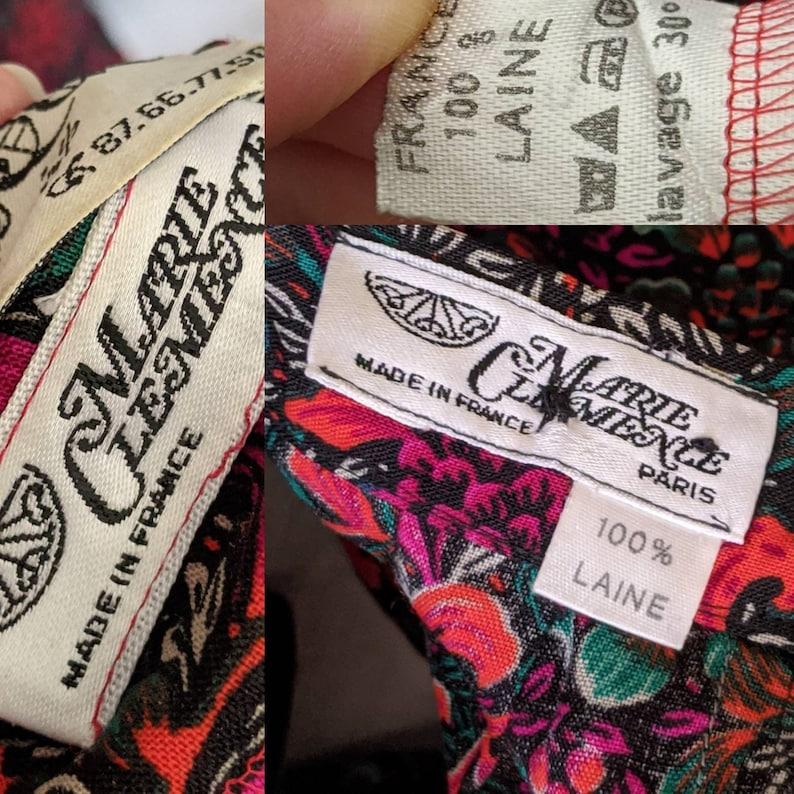 vtg 70s nipped waist wool pleated skirt suit inspired russian folk motive print Marie Clemence Paris peplum skirt 2 two piece skirt blazer