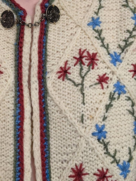 XSml vintage austrian embroidered duster sweater … - image 5