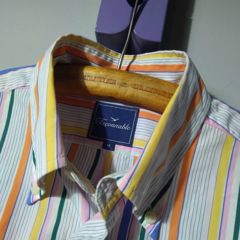 pre-owned Faconnable Rainbow Striped Button Down Shirt M
