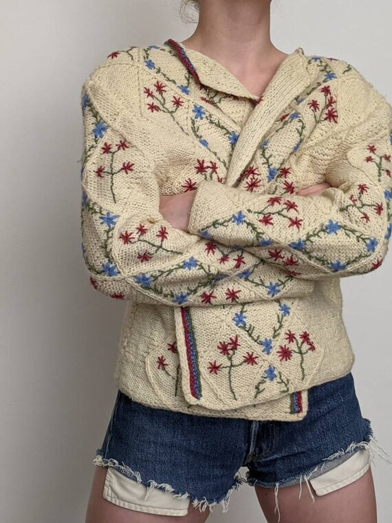 XSml vintage austrian embroidered duster sweater … - image 8