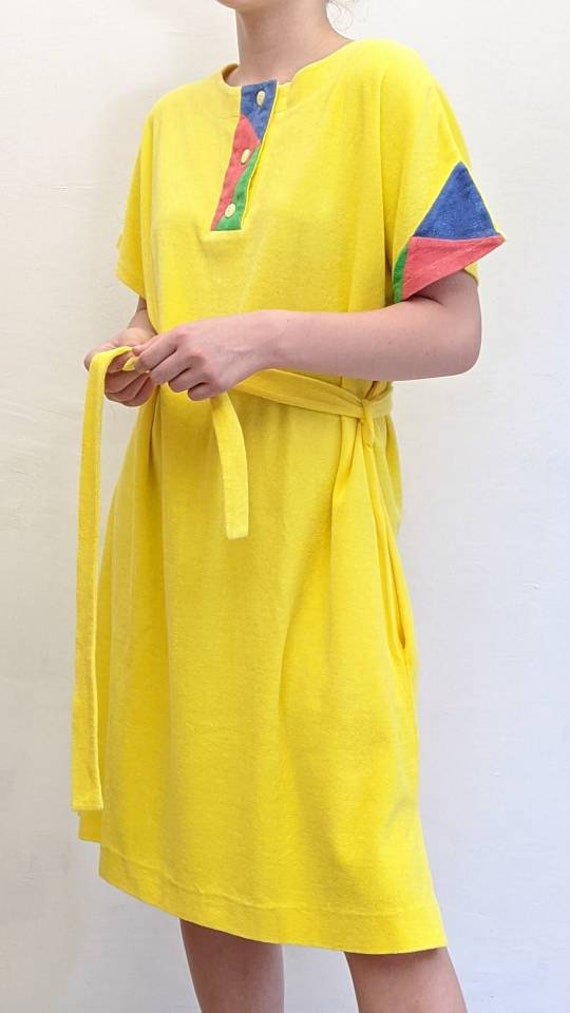 1980s vintage colorblock terrycloth dress. colorfu
