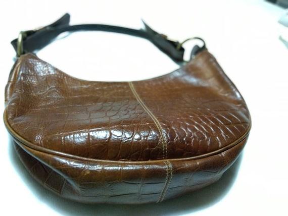 used mulberry hobo bag vintage|brown|croc embossed