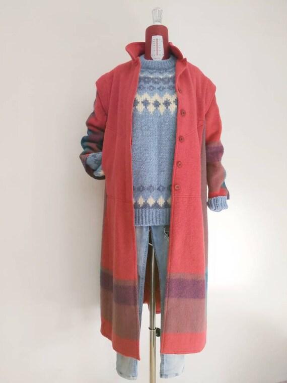 vintage anne jo norway plaid coat • plaid color bl