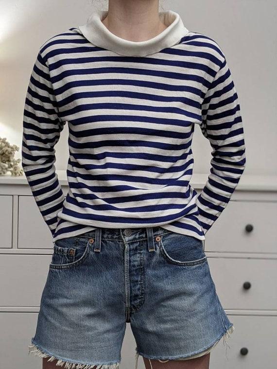 funnel boatneck breton stripe shirt
