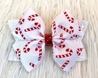 SMALL Christmas Bow Holiday Hair Clip Ready to Ship Bow Tie Red Green White Bow Tie