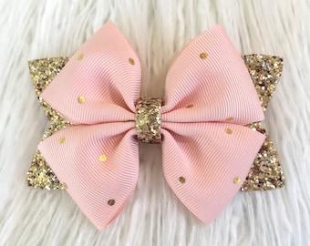 Polka Dot Bow Gold Glitter Bow Bow Clip Glitter Bow Bow Headband Silver Glitter Bow Glitter Bow Headband Glitter Headband