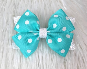 4 or 5 inch Dotty Blue Chunky Glitter Children/'s Double Hair Bow