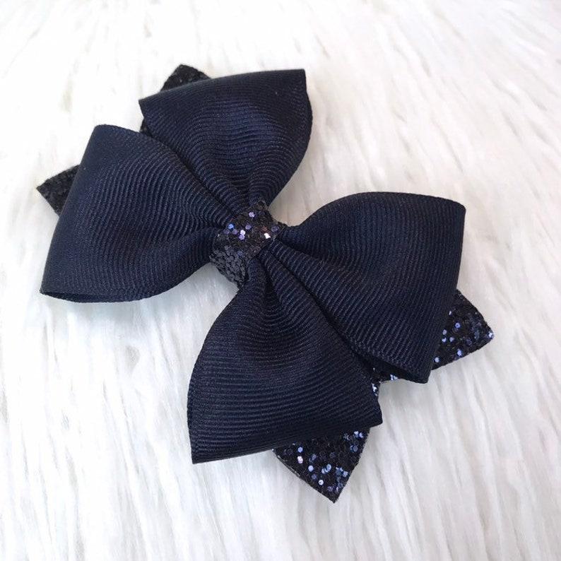Navy Blue Chunky Glitter Bow Baby Bow Headband Navy Blue Hair Clip Navy Blue Glitter Bow