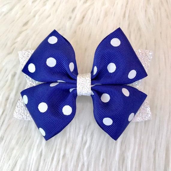 Blue white polka dot bow bow headband fabric polka dot bow bow hair clip |