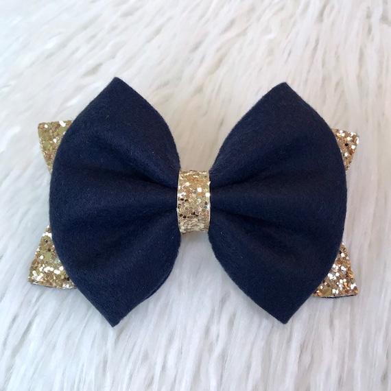 "Handmade navy /& gold glitter bows girlls chunky 4/"" hair clip or headband"