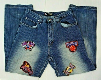 82003212 Vintage 90s Mukawear Mens 34W Jeans NBA Basketball Team Logo Patches Size  34W