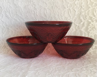 Pottery & Glass Vintage Bohemian Ruby Red Flash Glass Large Bowl Selling Well All Over The World Glass