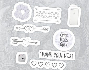 graphic regarding Aesthetic Stickers Printable referred to as Black And White Aesthetic Stickers - Georges Blog site