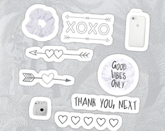 image about Aesthetic Printable Stickers known as Black And White Aesthetic Stickers - Georges Website