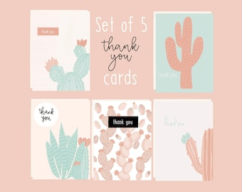 Thank you notes   Custom greeting cards   Succulents card   Thank you card set   Cute cactus cards