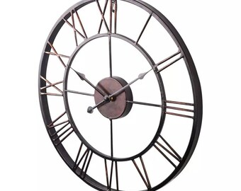 9831727c6 Vintage metal iron hollow large wall clock 47 cm