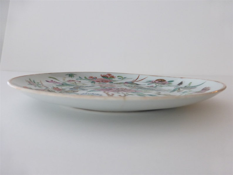 Famille Rose Enamel Dish with Lifelike Flowers A Beautiful world Antique Chinese Mid Qing Dynasty Dish Birds and Butterflies