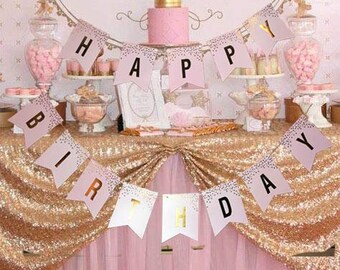 Happy Birthday Banner Pink Gold Bunting Girls Party Decoration Womens Sign Garland