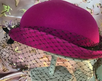 1f012d2144bb0 Fuschia felt hat with black mesh and bow 1960 s era made in