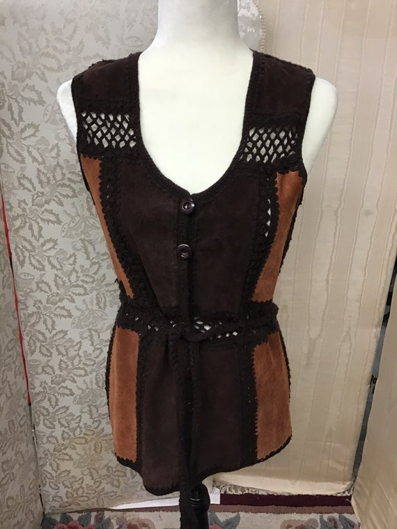 1970  hippie  two tone suede and knit  vest