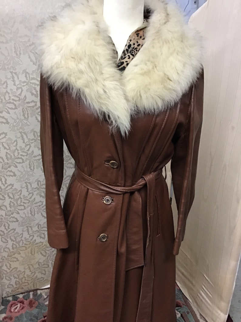 1970 women\u2019s three season full leather jacket with removable coyote fur collar