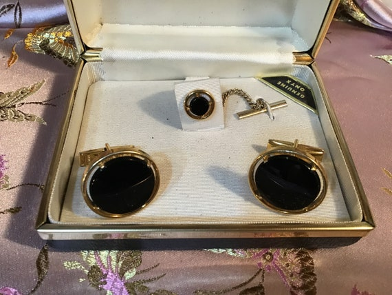 Item #11 Silver-tone Cuff Links with Onyx center stone CA 1960/'s