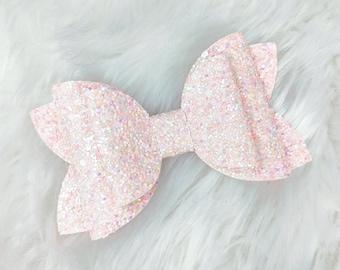 Girls Hair Bow Lilac Bow Pink Glitter Bow Birthday Gift Baby Headband Blue Lilac Bow Pastel Unicorn Girl Gift Set