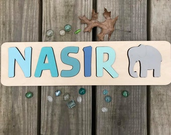 Wooden Name puzzle with shape, Baby gift, Montessori plaything, Personalized toy, Nursery Decor