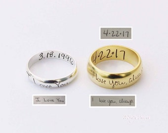 Memorial Actual Handwriting Band Ring – Personalized Signature Ring –  Wedding Band – Eternity Ring – Cute Jewelry – Women s Jewelry fdef5649afd7