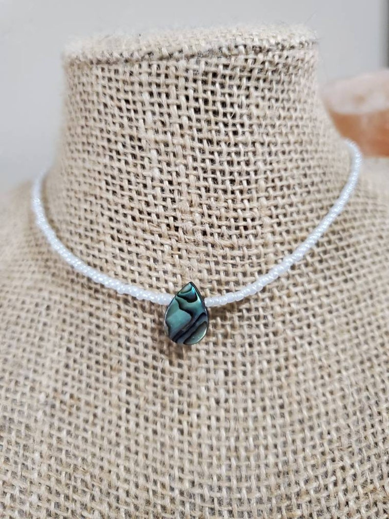 Abalone paua shell seed bead choker necklace