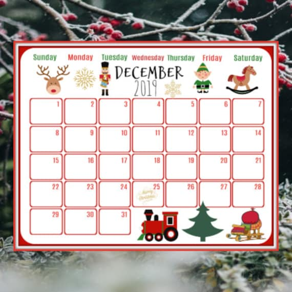 advent calendar december 2019 calendar printable instant. Black Bedroom Furniture Sets. Home Design Ideas