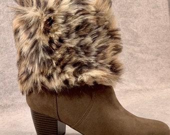 106b7cdf43d2 Leopard Boot Cuffs, Fur Boot Cuffs, Fur Boot Toppers, Faux Fur Boot Cuffs,  Boot Cuffs, Boot Accessory