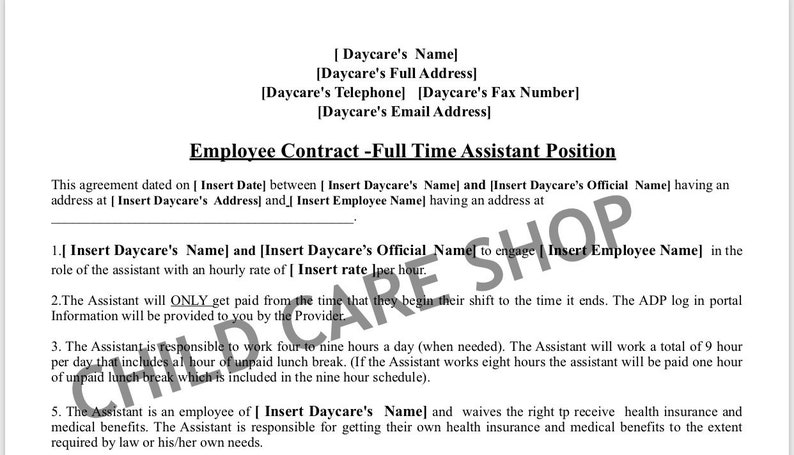 Child Care Employee Contract