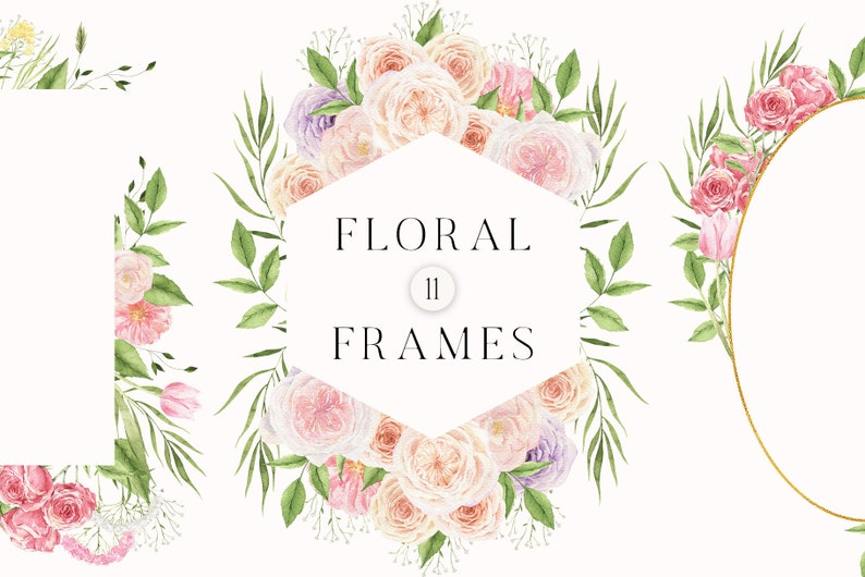 Boho Watercolor Floral Frame Rose Peon Greenery Gold Wreath for Wedding Invitation card logo clipart png