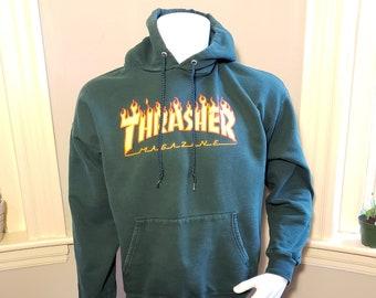 4727e3370abc Authentic Vintage Thrasher Skateboarding Magazine Flaming Logo Rare Hoodie  - Large
