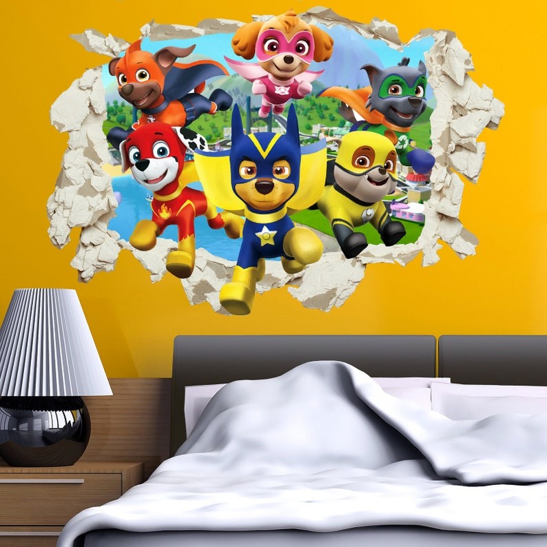 Pfote Patrol Super Welpen Held Helden Aufkleber Aufkleber Zerschlagen Riss Home Dekor Kinder Mädchen Jungen Bett Zimmer Vinyl Kunst Wandbild