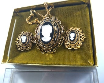 Black Beads with Gold and Silver Chains Vintage Jonne Necklace and Earrings Set 1960s