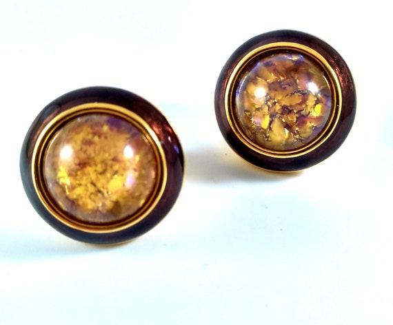 Joan Rivers Earrings, Opalescent Moon Stone, Vinta
