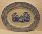 Antique ironstone transferware platter, blue and white