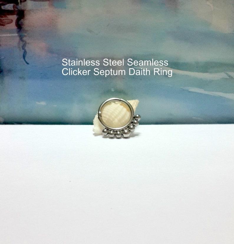 Segment Clicker Hinged Ear Hoop-Daith Septum Piercing-Gift 16 Gauge Boho Beads Seamless Hoop Hypoallergenic Stainless Steel Helix Ring