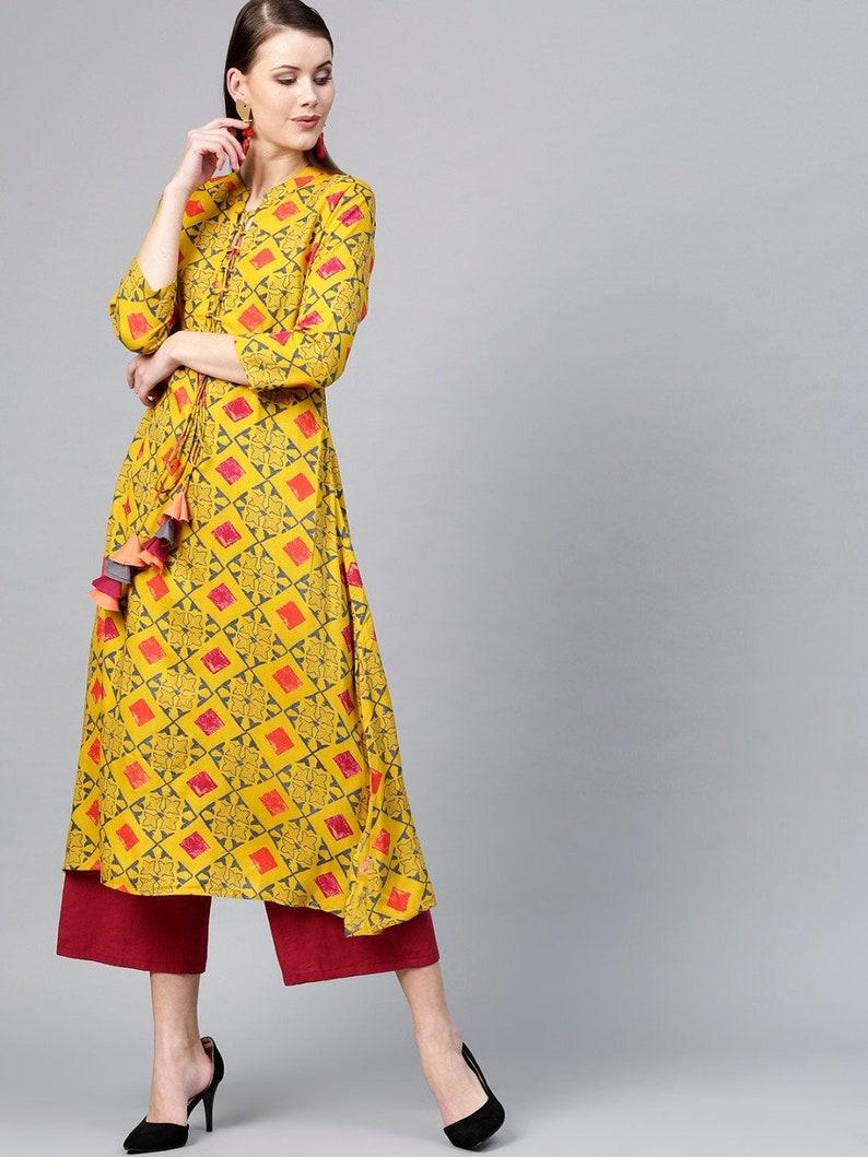 Bollywood Indian Mustard Yellow and Grey Colored Straight Kurta Indian Ethnic wear Shop Online for Women Geometric Print Kurta for Women