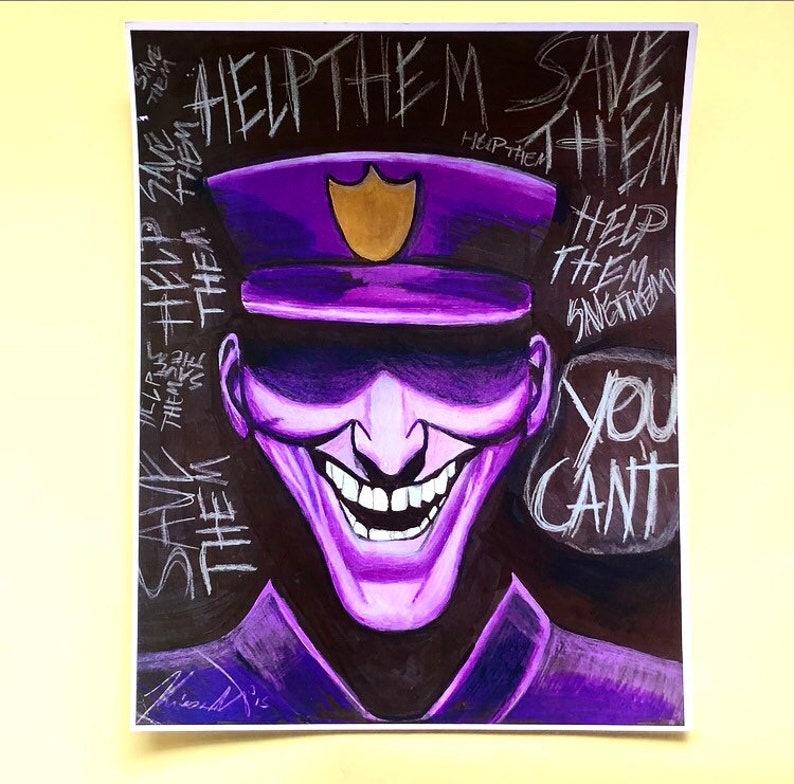 Purple Guy FNAF Art: Five Nights at Freddy's Drawing -PRINT 11x14