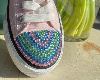 Rainbow your toes!! Gorgeous bling in beautiful colors to celebrate Spring, Pride or whatever you wish! Quality low top canvas tennis shoes!