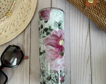 20 or 30 oz. stainless steel insulated tumbler beautifully decorated with pink peonies all around! Keeps your drink cold or hot for hours!