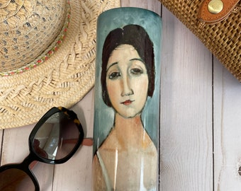 20 or 30 oz. stainless steel insulated tumbler beautifully decorated with Modigliani's Christine! Keeps your drink cold or hot for hours!